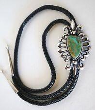 Wilson Begay Sandcast Bolo Tie ~ Sterling & Turquoise ~ Fleur De Lis ~ Navajo