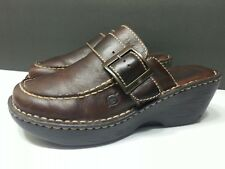 Womens Born Brown Leather Mule Clogs Heel w/ Decorative Strap Buckle size 8 / 39