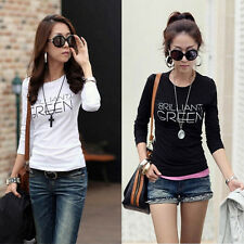 Fashion  Women Blouse Lady Crew Neck T-Shirts Long Sleeve Bottoming Tops Tees