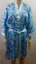 Vanity Fair Womens Robe Blue Floral Satin Kimono Wrap Silky Sleepwear Belt Sz M