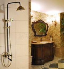 Bathroom Wall Mounted Black & Gold Color Brass Rain Shower Set Faucet Mixer Tap