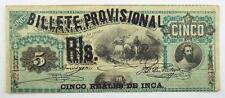 Peru 1881 Inca Billete Provisional 5 Reales / Cinco Reales Overprint Banknote