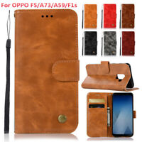 For OPPO F5/A73/A59/F1s/A57/A39 R9s R11 Retro PU Leather Case Wallet Flip Cover