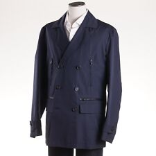 NWT $5950 KITON NAPOLI Leather-Trimmed Cotton Peacoat Cashmere Lining M Jacket