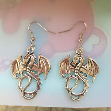 Antique silver Dragon Earrings Handmade Jewelry fashion#