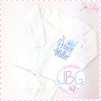 Personalised Embroidered Crown Sleepsuit Bodysuit 'Prince' -Baby Boy Clothes