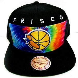 NEW Mitchell & Ness Golden State Warriors Black Rainbow Tie Dye Snapback Hat Cap