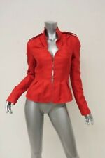 Yves Saint Laurent Rive Gauche Vintage Peplum Jacket Red Cotton-Silk Size 38
