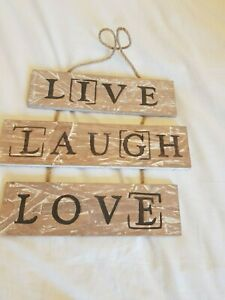 Wooden Live Laugh Love Triple Hanging sign