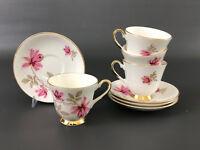 4 Ainsdale China Co. bone china cups & saucers , England 1930's