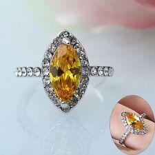 Yellow Zircon Women Wedding Jewelry Crystal Rhombus Shape Ring White Gold Filled