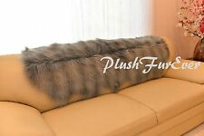 "24x59"" FUR SLIP COVERS Faux Fur Silver Gray Raccoon Sofa Couch Covers Slipcovers"
