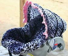 infant car seat cover and hood cover snow leopard with baby pink satin ruffle