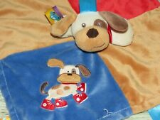 Taggies Puppy Dog Blue Red Sneakers Eye Patches Lovey Security Blanket Baby Toy
