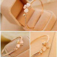 Women Lady Flower Crystal Gold Plated Cuff Bracelet Bangle Jewelry Gift New