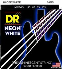 DR NWB-45 4 string Hi-Def Neon White Coated Bass Guitar Strings 45-105 MED