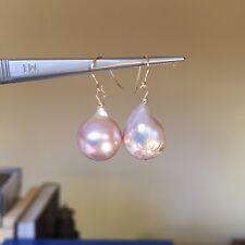 Baroque Kasumi pearl 100% Natural Purple 14K Gold Filled earrings Original works
