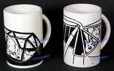Lot of 2 mugs TINTIN s PLANE in ceramic black & white cup of coffee collectible