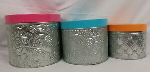 Company Store Decorative Canisters 74144 Multi Colors Set of 3 990KCZ