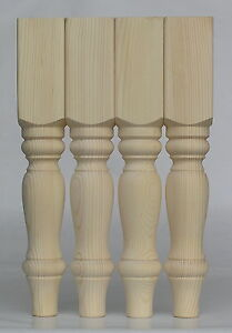 """Set of 4 Solid Pine Farmhouse Coffee Table Legs, 69*69*425mm  Ex 3"""" (A3FHC)"""