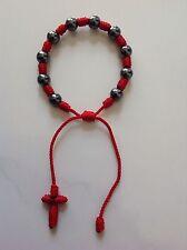 New Red Decenario Rosary Stylish Pulseras Trendy Celebrity Bracelet Hematite 8mm