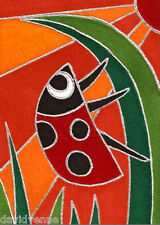 Red Sky Ladybug David Venne Canvas ACEO Folk Art art card Print