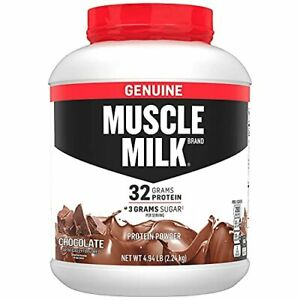 Muscle Milk Genuine Protein Powder Chocolate 32g Protein 4.94 Pound 32 Servings