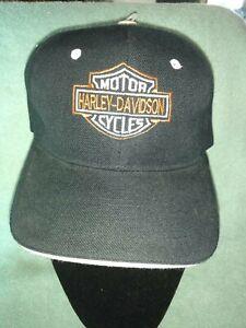 Vtg Harley Davidson Motorcyles Black w/ Embroidered Logo Strapback Baseball Mens