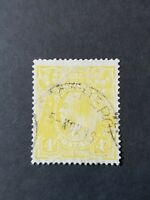 Used 4d Lime Yellow KGV Stamp, ACSC 110D