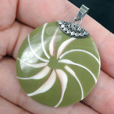 SHELL & OLIVE GREEN RESIN 925 Sterling Silver Pendant Jewellery, SPIDER SHELL