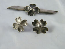 VINTAGE ~ STERLING SILVER ~ DOGWOOD SCREW BACK EARRINGS WITH MATCHING PIN