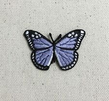 Iron On Embroidered Applique Patch - Lilac Purple/Black Monarch Butterfly SMALL