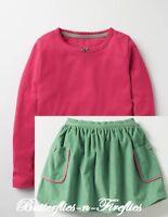 NEW MINI BODEN 2pc Outfit Set Pink Pretty Tee Shirt Pocket Cord Skirt Girls 6-7