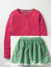 NEW MINI BODEN 2pc Outfit Set Pink Pretty Tee Shirt Pocket Cord Skirt Girls 7-8