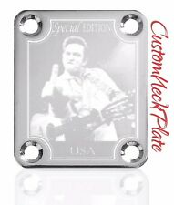 Chrome Jcash Engraved Guitar Neck Plate fits Fender tele/strat/s