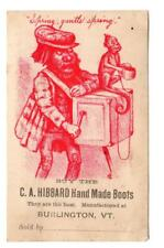 BURLINGTON VERMONT*HIBBARD*HAND MADE BOOTS*ORGAN GRINDER & MONKEY*TRADE CARD