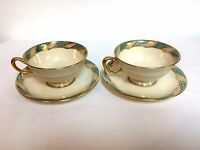 Pair of Lenox Seagreen Bellevue Cup & Saucer Set Mint