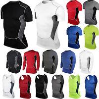 Mens Gym Compression T-Shirt Vest Tank Tops Fitness Workout Base Layer Shirts