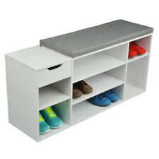 Schuhbank mit Schublade Schuhregal Schuhablage Sitzbank Flur Sitzkissen Holz