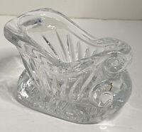 Holiday 24% Lead Crystal Sleigh Candy Nut Dish Cut Glass Christmas Table Decor