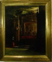 C. Trohnel Interieursszene eines palastartigen Gebäudes 1908 Ölgemälde signiert