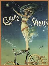Cycles Sirius Metal Sign, Retro Lady on Bike,Circus Theme, Gameroom,Garage Decor
