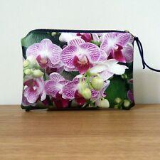 Coin Purse Make Up Bag Clutch Faux Leather Orchid Brass Zipper Handmade