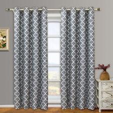 Grey Meridian Room Darkening Grommet  Window Curtain Drapes Set of 2 Panels