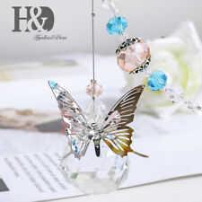 Crystal Suncatcher 30mm Prisms Ball Metal Butterfly Pendant Hanging for Window