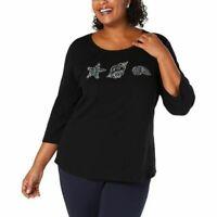 Karen Scott Womens Ladies Deep Black Embellished Seashell Shirt Top 2X
