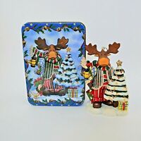 "Grandeur Noel Moose Christmas Ornament In Tin Resin 4.5"""