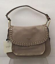 Cavalcanti Saddle Beige Leather Gold Studded Tassel Crossbody Convertible Bag