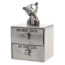 My First Tooth & Curl Silver Trinket Box Set Keepsake Kids Gift Cabinet