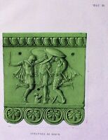 Ancient Rome Terracotta Tile-Plate II-Orig Folio Lithograph Campana Relief 1851